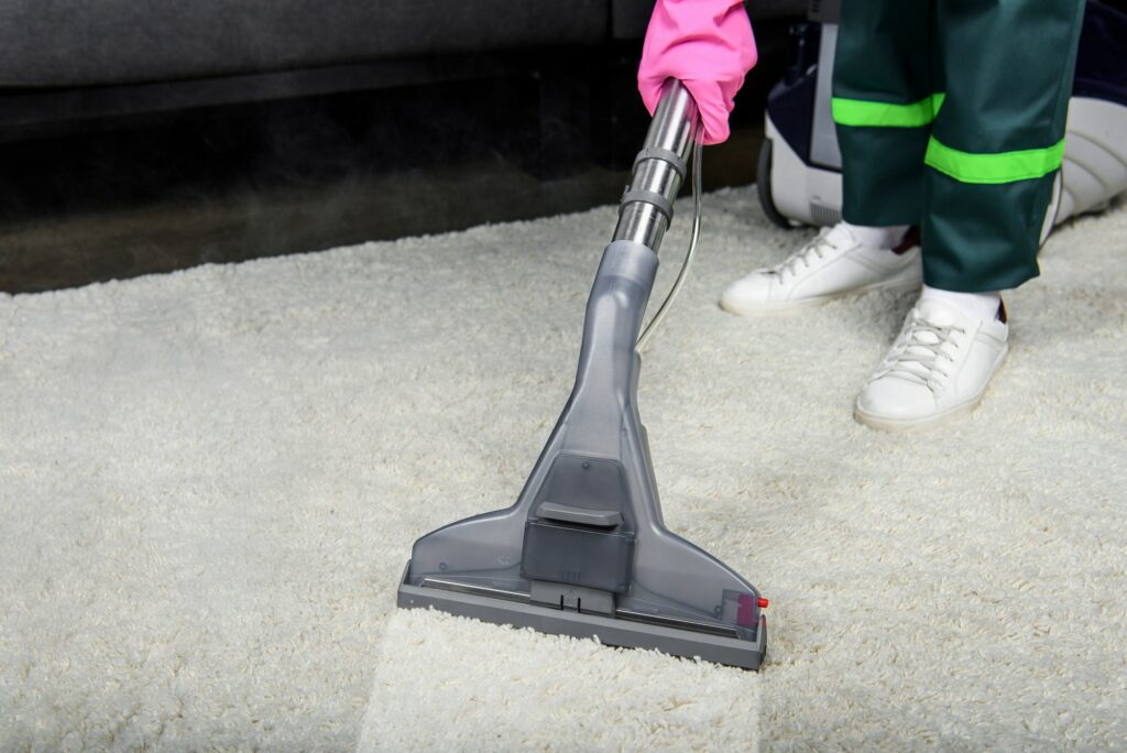 cropped shot of person in rubber glove cleaning carpet with vacuum cleaner